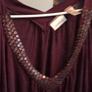 Avenue Purple V Neck Shirt! 30/32 W Plus Size!